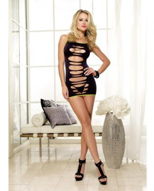 Seamless knit dress w/slash detail and thong (can be worn two ways) black/lime o/s