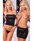 Pink lipstick sequin tube top or tube skirt black m/l