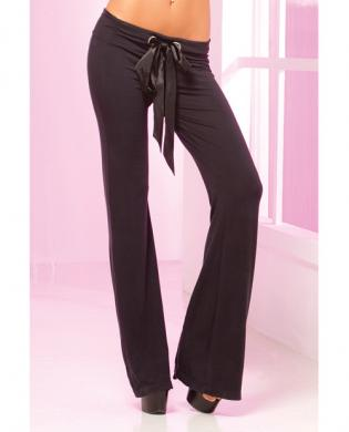 Pink lipstick loungewear stretch lounge pant w/ruched back, oversized pocket black lg