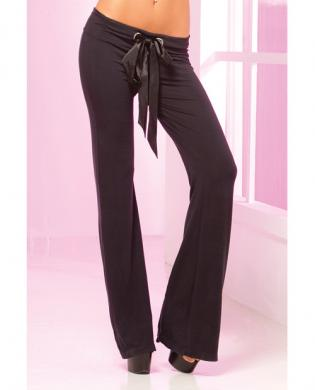 Pink lipstick loungewear stretch lounge pant w/ruched back, oversized pocket black md