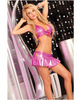 Pink lipstick shiny halter top and side tie mini set hot pink s/m