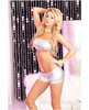 Pink lipstick bandeau and hot lame short set silver s/m