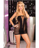 Pink lipstick v-plunge seamless mini dress black o/s Sex Toy Product Image 1
