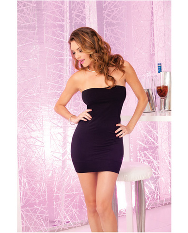 Pink lipstick seamless rouched side tube dress black o/s