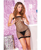 Pink lipstick diamond net seamless mini dress black o/s