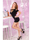 Pink lipstick cut out seamless mini dress black o/s