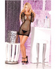 Pink lipstick long sleeve net seamless mini dress black o/s