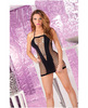 Pink lipstick seamless halter net dress black o/s