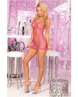 Pink lipstick seamless open net tube dress pink o/s