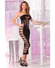 Pink lipstick seamless slit tube dress black o/s