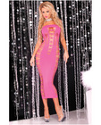 Pink lipstick seamless slit tube dress pink o/s