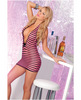 Pink lipstick deep plunge mini dress black and pink striped o/s