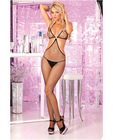 Pink lipstick o ring fishnet bodystocking black o/s