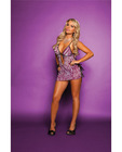 Soft mesh zebra print chemise w/side ties and panty purple s/l
