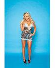 Soft mesh leopard print chemise w/ties in the back and lace panty blue s/l
