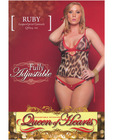 Mesh camisole w/ruby mesh boyshort leopard 4x/5x