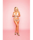 Soft mesh full lace front camisole and boyshort w/adjustable sliders on sides leopard s/l