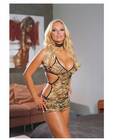 Camouflage print lycra net halter dress and thong o/s