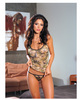 Camouflage print lycra net cami and thong o/s