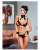 Open cup bra and thong w/restraint cuff set black o/s