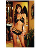 Stretch lace bra w/strappy shorts black o/s