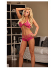 Stretch lace bra w/strappy shorts fuschia o/s