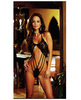 Stretch lace teddy w/snap crotch black o/s