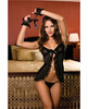 Babydoll and thong w/lace trim and fingerless gloves black o/s