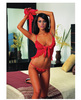 Babydoll and thong w/lace trim and fingerless gloves red o/