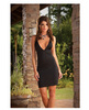 Microfiber low neckline, knee length chemise w/back embroidery
