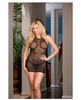 Lycra net halter babydol w/elastic strap back detail and thong black qn
