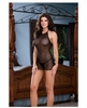 Lycra net halter babydoll w/elastic strap back detail and thong black o/s