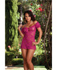 Stretch lace peasant styled babydoll that can be worn on or off the shoulder w/thong magenta o/s