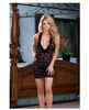 Stretch lace halter babydoll w/ruffled neckline and thong black o/s