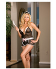 5 pc at your service babydoll w/apron, maids hat, feather tickler and ruffle back thong black qn