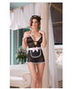 5 pc at your service babydoll w/apron, maids hat, feather tickler and ruffle back thong black o/s