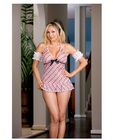 5 pc sassy sweet school girl babydoll, ruffle back panty, puff sleeves and hair ribbon pink qn