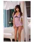 5 pc sassy sweet school girl babydoll, ruffle back panty, puff sleeves and hair ribbon pink o/s