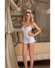 3 pc naughty lil&#039; nurse chiffon apron babydoll, cap and thong white o/s