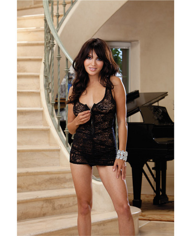 Stretch lace chemise w/front zipper and thong black o/s