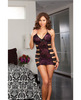 Stretch printed lace chemise w/lace strap detail and thong black purple qn