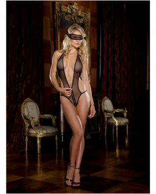 Stretch fishnet front zipper teddy and fishnet eye mask black o/s