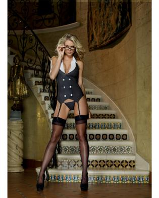 3 pc working late pinstripe knit vest garter, thong and plastic glasses black o/s