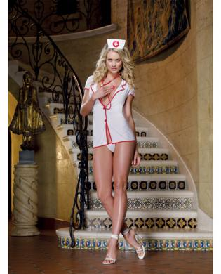 4 pc private nurse shirt dress, thong, cap and stethoscope white o/s