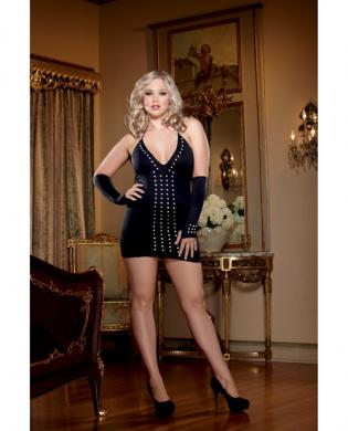 Halter studded front spanking dress w/matching gloves and gstring black qn