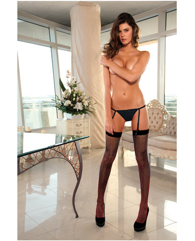 Rene rofe crotchless rumba thong w/removable garters black s/m