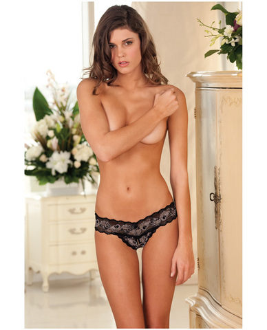Rene rofe crotchless lace v-thong black m/l