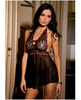 Rene rofe peek-a-boo babydoll and g-string black m/l