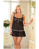 Rene rofe sheer babydoll w/flounce and g-string  black qn