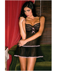 Rene rofe sheer babydoll w/flounce and g-string  black o/s